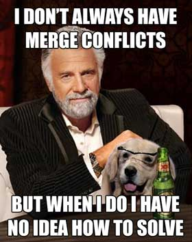 I don't always have merge conflicts, but when I do, I have no idea how to solve